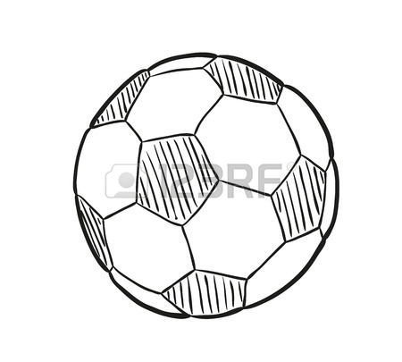 450x405 Sketch Of The Football Ball On White Background, Isolated Royalty