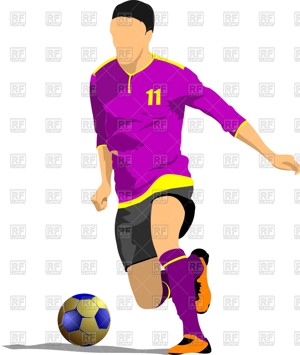 1013x1200 Poster Of Soccer (Football) Player With Ball On White Background