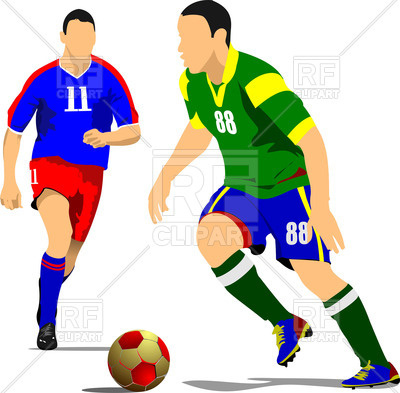 400x393 Silhouette Of Running Soccer Players With Ball Royalty Free Vector