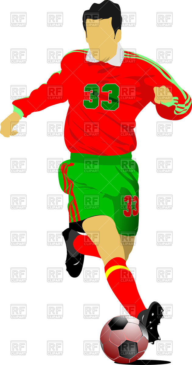 631x1200 Silhouette Of Soccer Player Running After Ball Royalty Free Vector