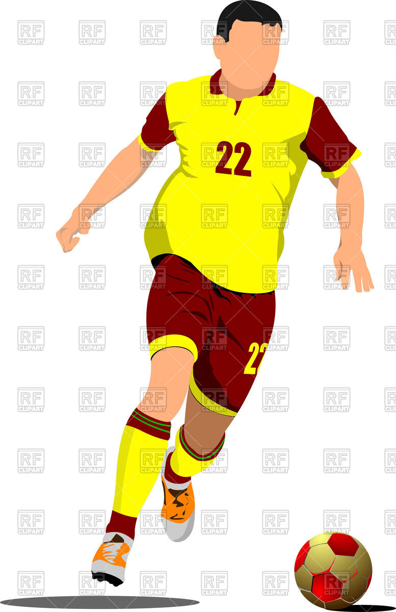 777x1200 Yellow Red Silhouette Of Soccer Player With Football Ball Royalty
