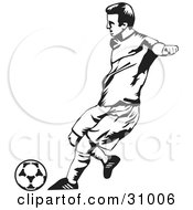 175x190 Clipart Illustration Of Soccer Player Kicking Ball During