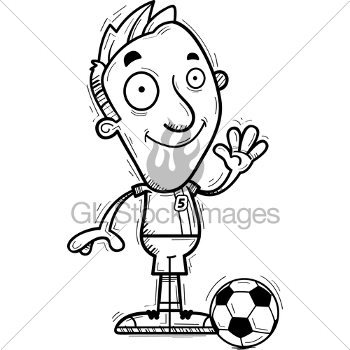 500x500 Cartoon Soccer Player Waving Gl Stock Images