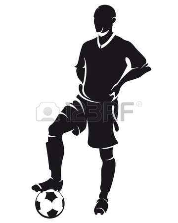 360x450 Vector Football Soccer Player Silhouette With Ball Isolated