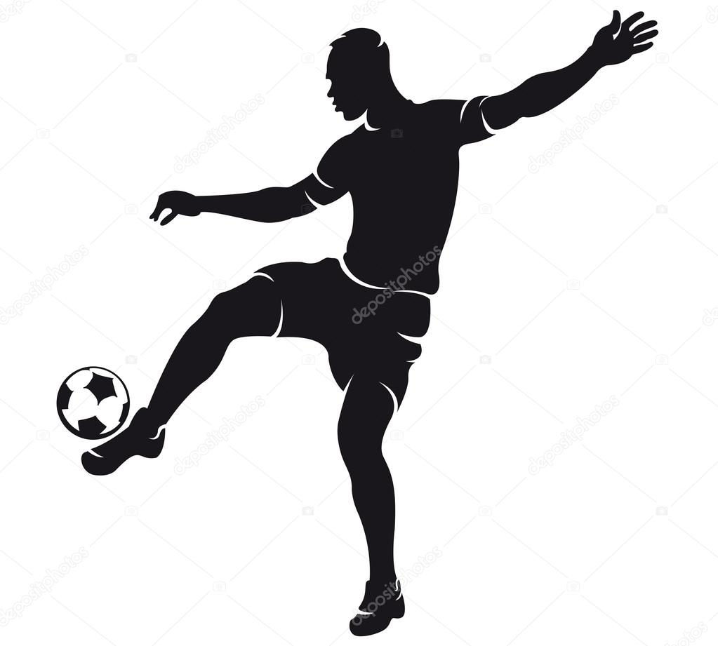 1023x921 Vector football (soccer) player silhouette with ball — Stock