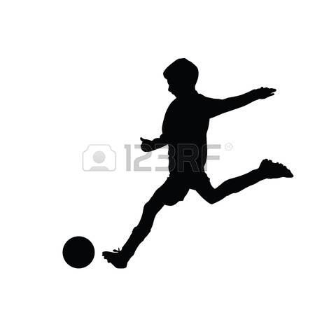 450x450 Young Soccer Player Kicking A Ball, Isolated Vector Silhouette