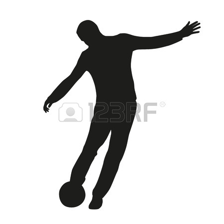 450x450 Football Player With Soccer Ball Vector Silhouette. Sport Game