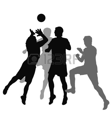 427x450 Little Soccer Players Silhouette, Vector Illustration Royalty Free