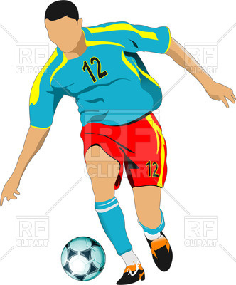332x400 Silhouette Of Soccer Player With Ball In Action Royalty Free