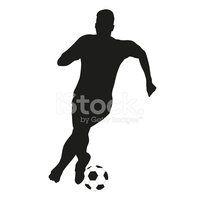 200x200 Soccer Player Vector Silhouette With Ball Stock Vectors