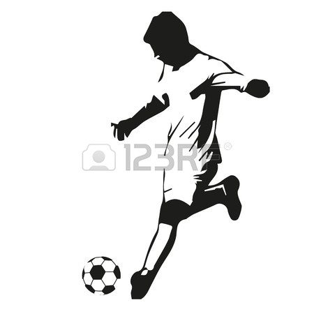 450x450 Soccer Player Vector Silhouette. Running Football Player Royalty