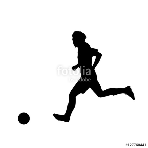 500x500 Soccer Player, Vector Silhouette Stock Image And Royalty Free