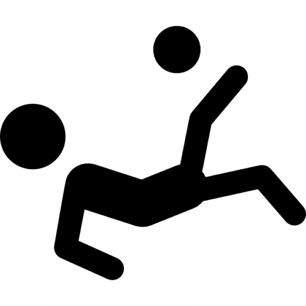 626x626 Soccer Player Silhouette Falling Kicking The Ball Icons Free
