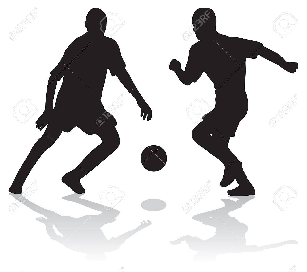 1300x1155 Two Silhouettes Of Soccer Players With Ball Stock Photo, Picture