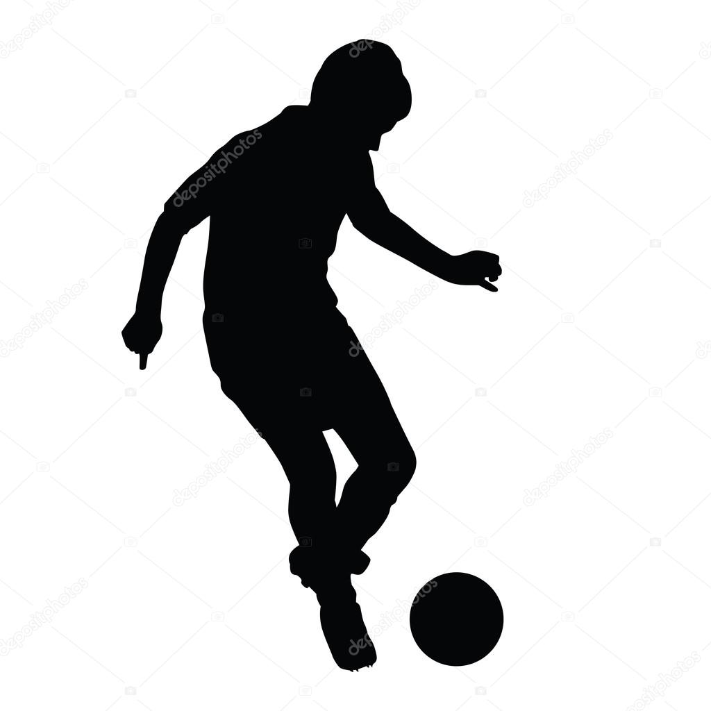 1024x1024 Young Soccer Player Passes The Ball Silhouette, Kid Plays Soccer