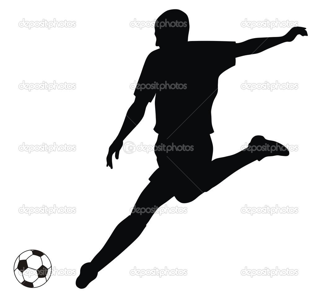 1023x953 Abstract Vectorillustratie Van Voetbal Speler Silhouet