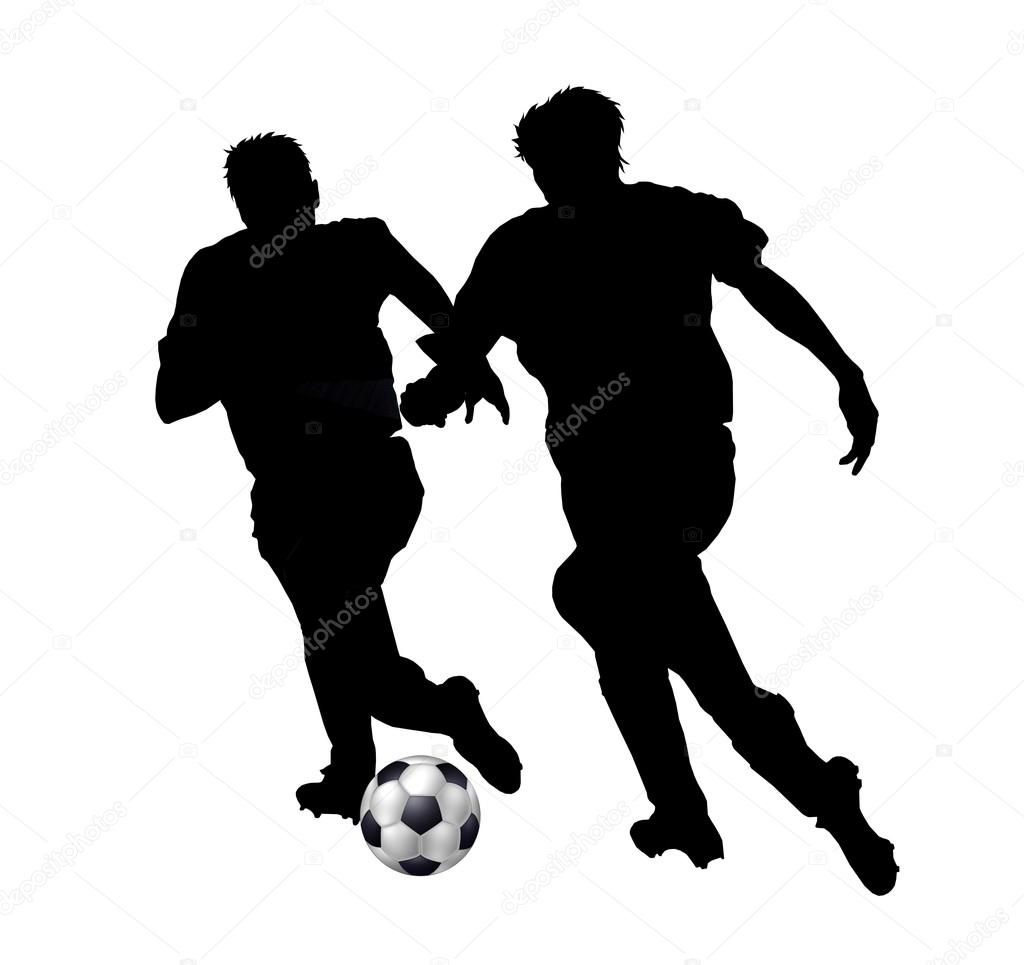 1024x965 Isolated Silhouettes Of Soccer Players Stock Photo Pdesign