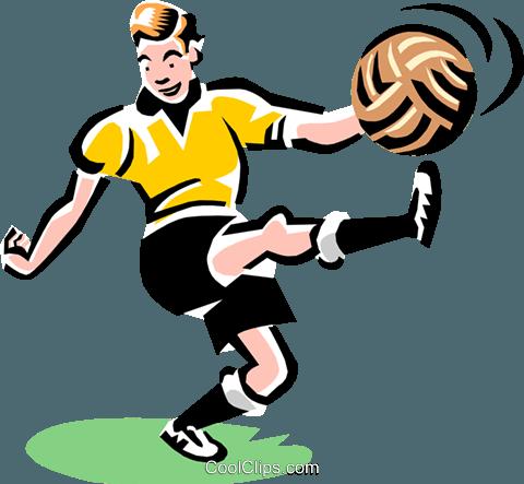480x443 Soccer Player Kicking Ball Royalty Free Vector Clip Art