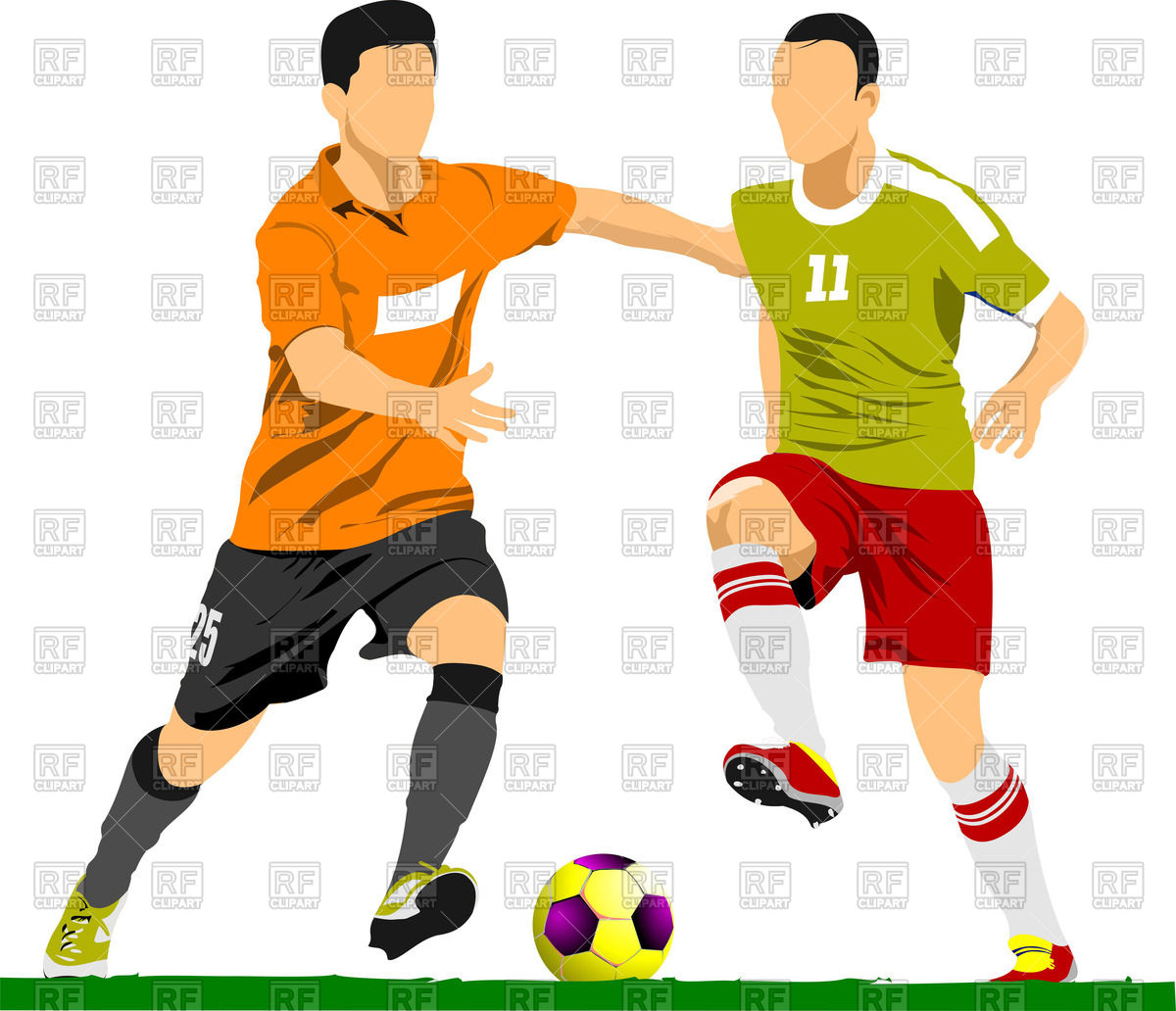 1200x1032 Soccer players fighting for the ball Royalty Free Vector Clip Art
