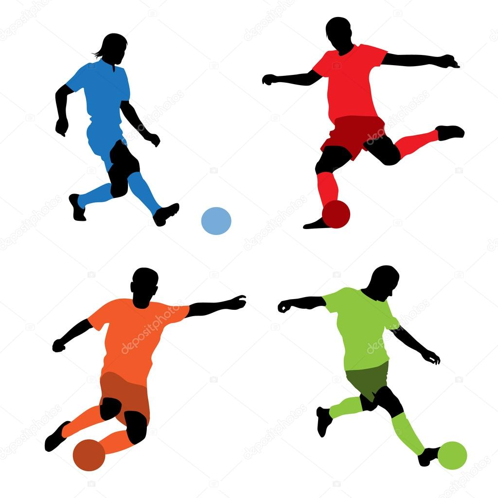 1024x1024 Four soccer players silhouettes — Stock Vector © katarinka