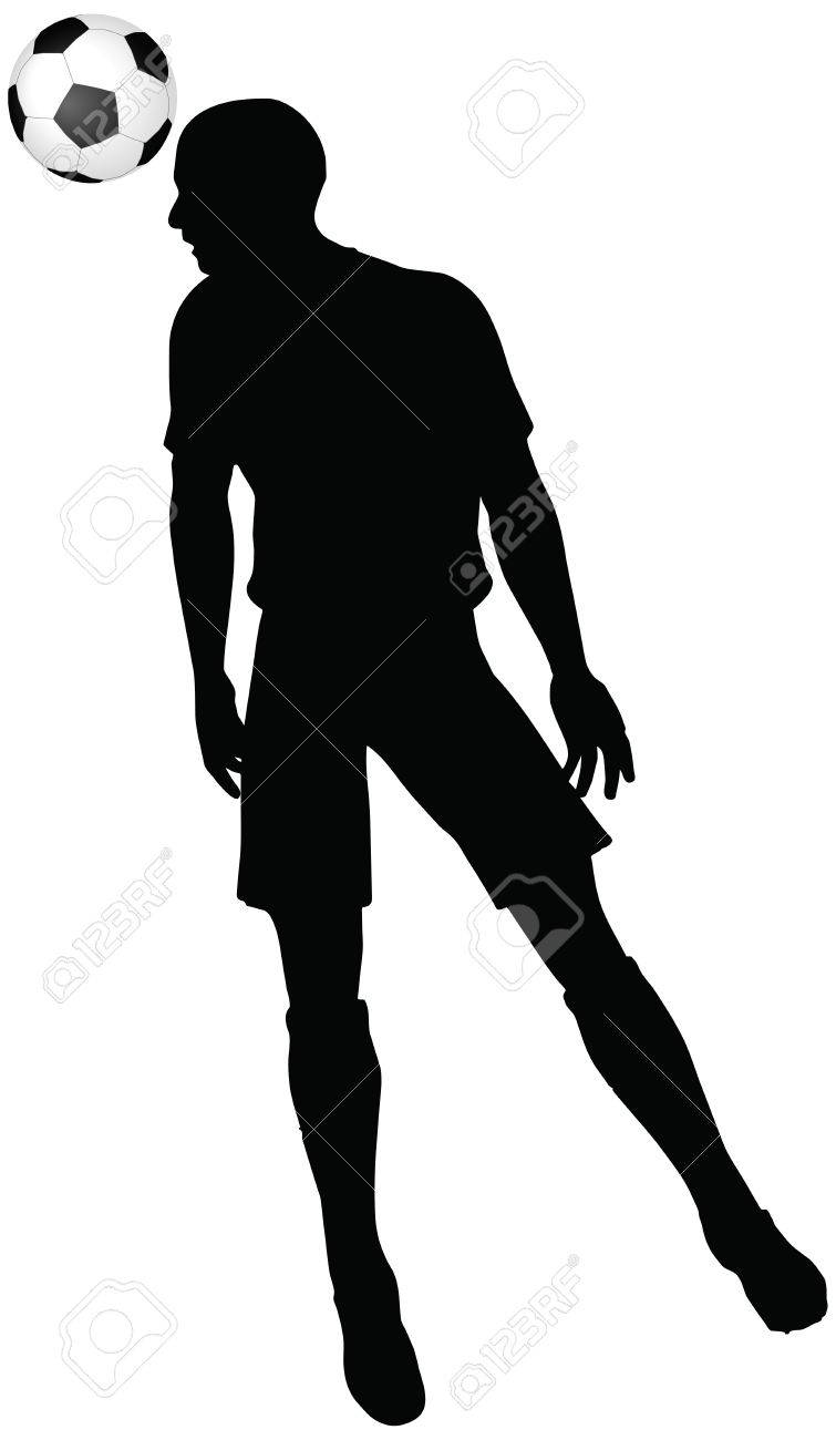 755x1300 Isolated Poses Of Soccer Players Silhouettes In Head Strike