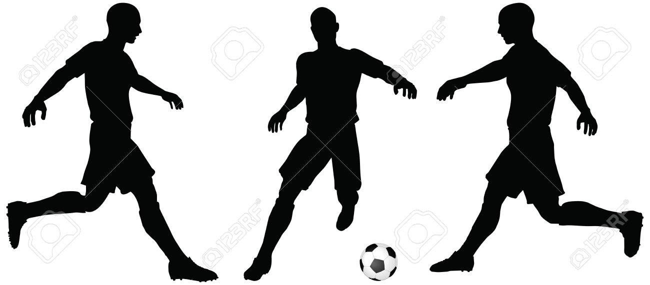 1300x571 Isolated Poses Of Soccer Players Silhouettes In Running Position