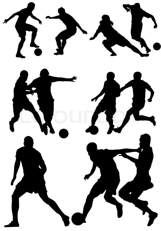 558x800 Soccer players silhouettes.Football players. Stock Vector