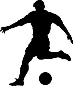 236x276 football (soccer) player silhouette with ball isolated