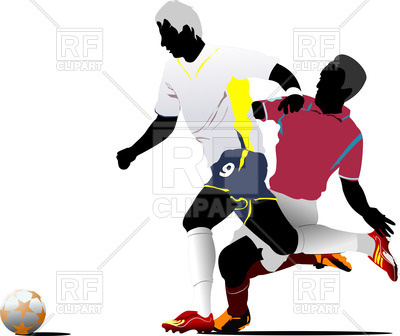 400x336 Colorful silhouettes of soccer players fighting for a ball Royalty