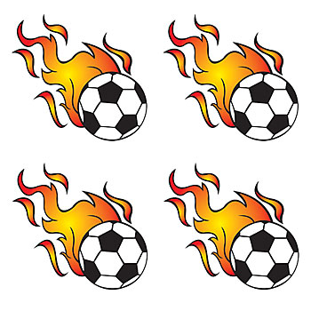 350x350 Flaming Soccer Ball Clip Art