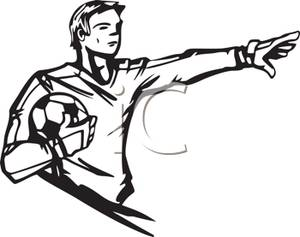 300x237 Captain On A Soccer Team Holding The Ball And Gesturing