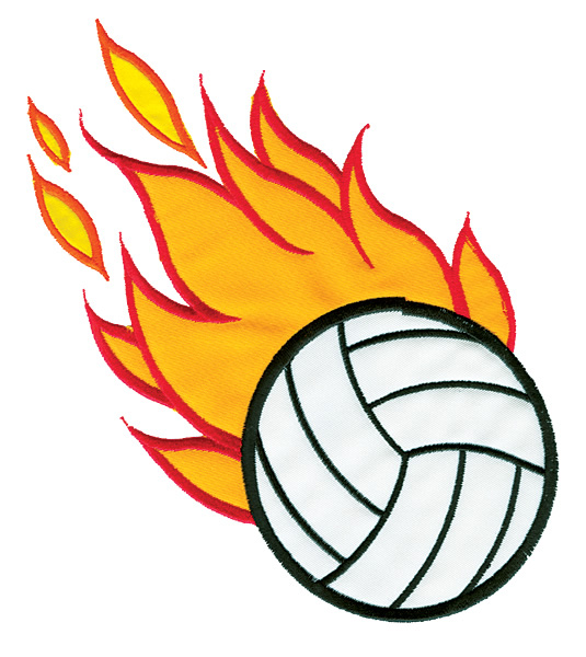 535x600 Flaming Volleyball Clipart