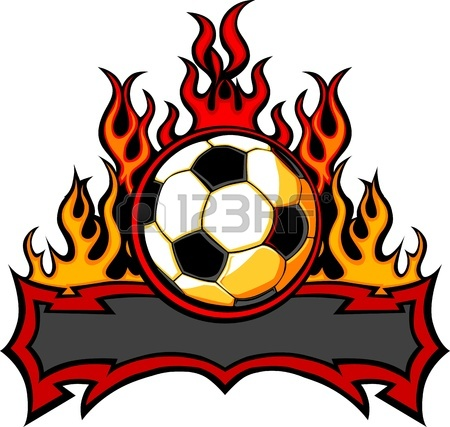 450x427 Graphic Soccer Ball Image Template With Flames Royalty Free