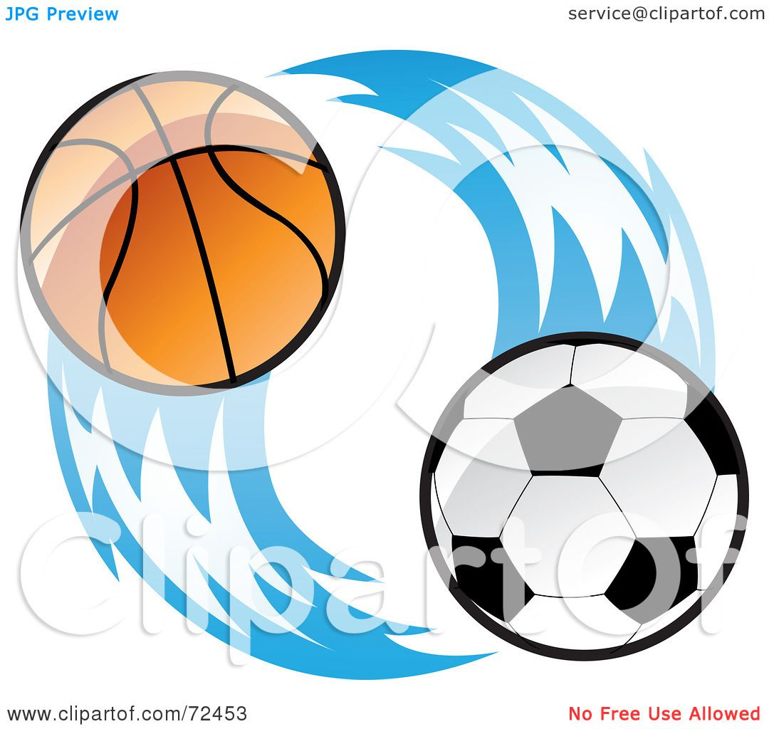 1080x1024 Royalty Free (Rf) Clipart Illustration Of A Basketball And Soccer