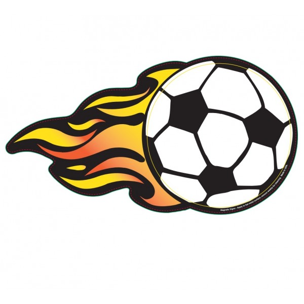 600x600 Soccer Ball W Flames Magnetic Car Sign