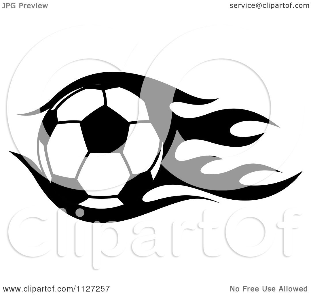 1080x1024 Clipart Of A Black And White Soccer Ball With Tribal Flames 1