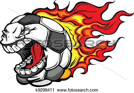 450x314 Soccer Ball With Flames Clipart