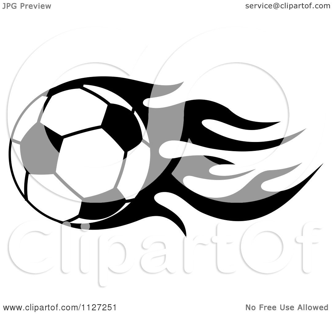 1080x1024 Clipart Of A Black And White Soccer Ball With Tribal Flames 8