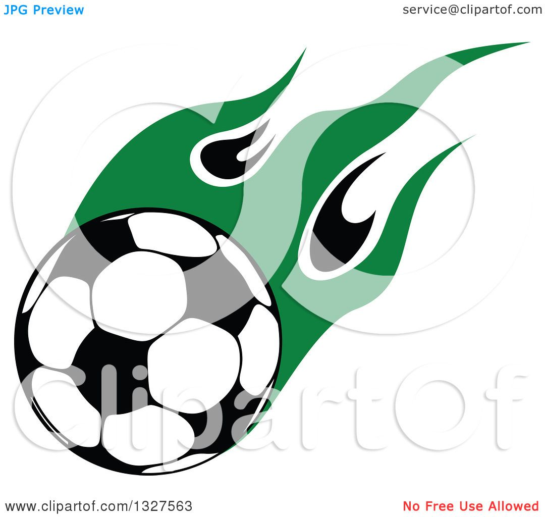 1080x1024 Clipart Of A Soccer Ball With Green Flames 2