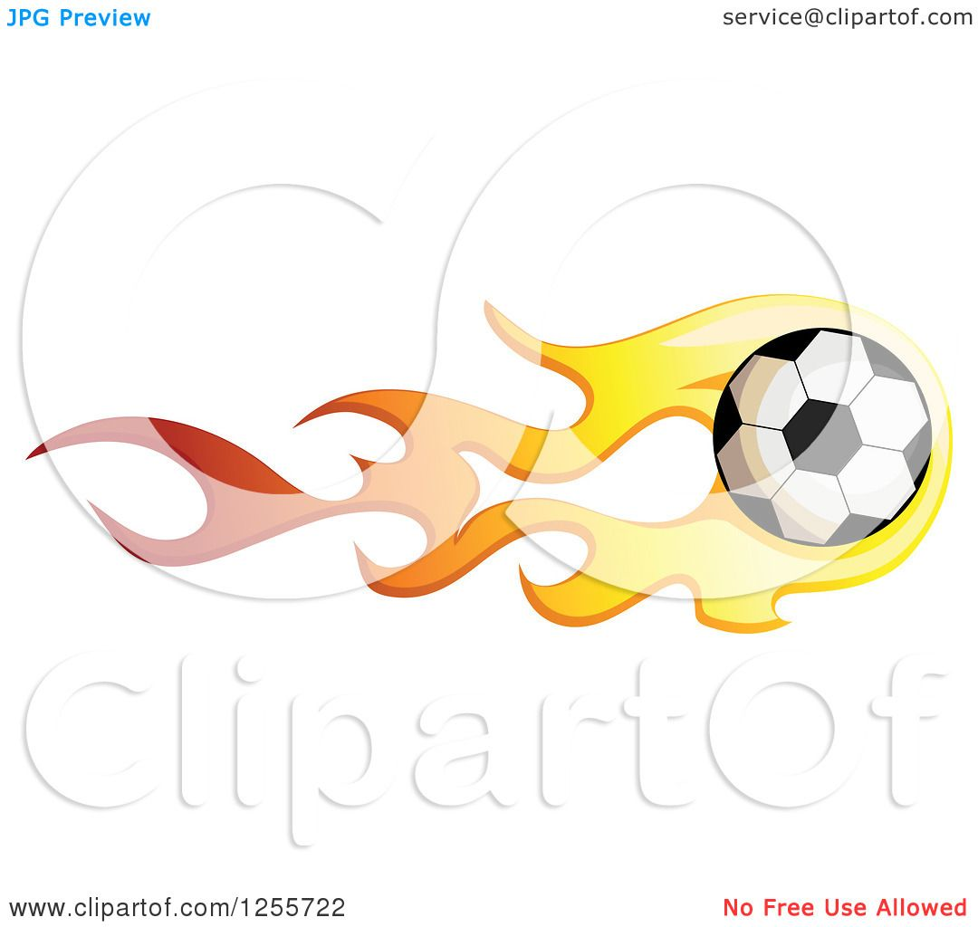 1080x1024 Clipart Of A Soccer Ball With Red And Yellow Flames