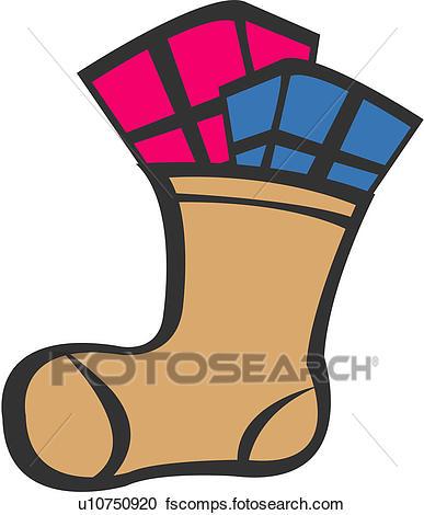 387x470 Clipart Of Present Box, Socks, Object, Winter, Season, Present