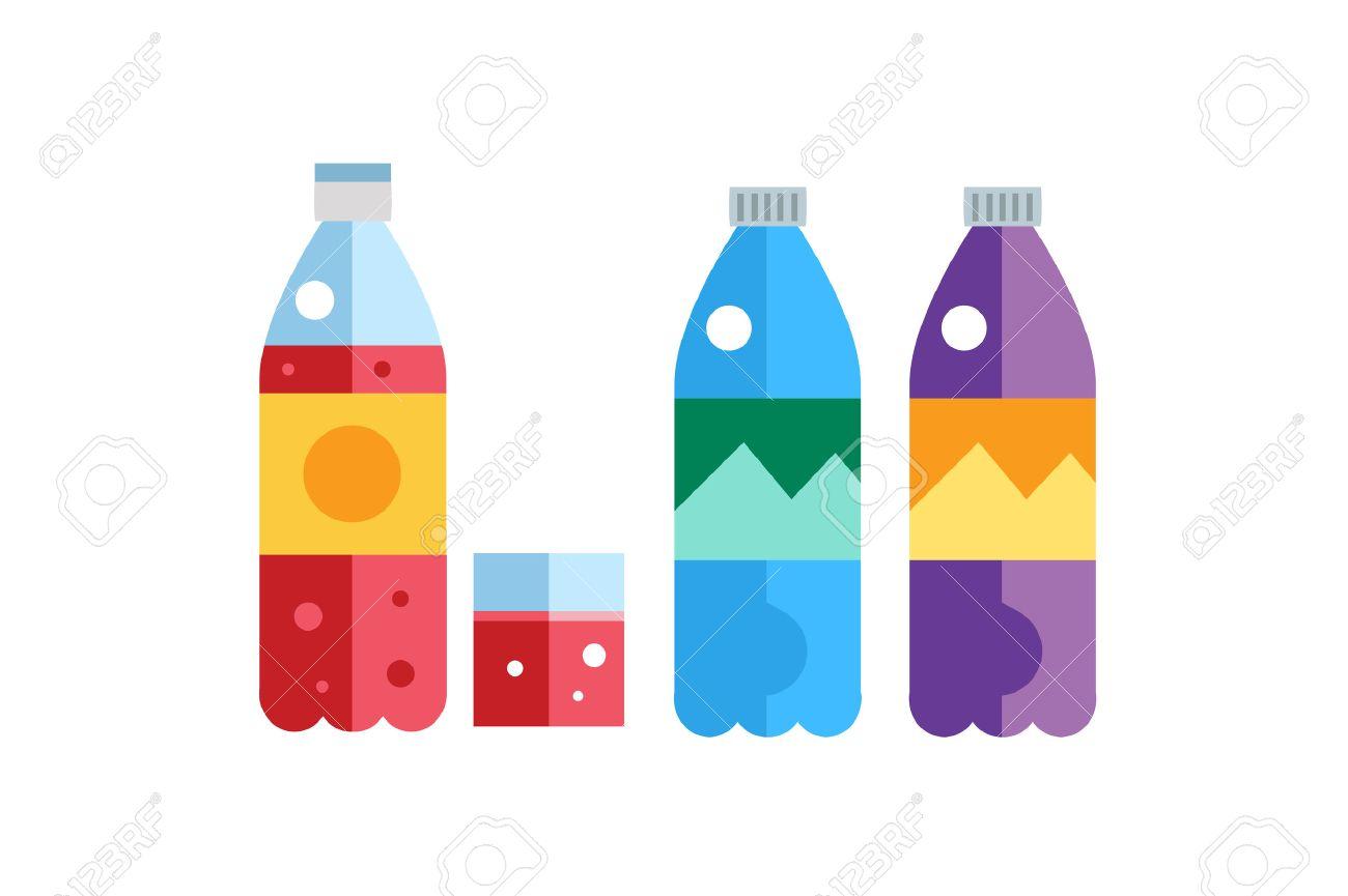 1300x865 Water, Soda And Juice Or Tea Bottles Vector Illustration. Set