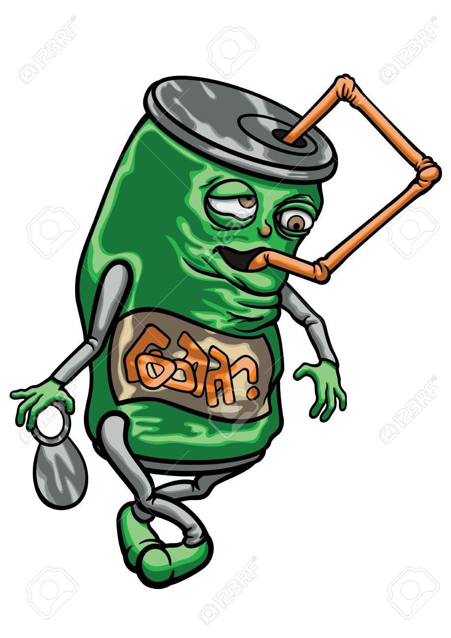 919x1300 Illustration Cartoon Funny Soda Or Beer Can. It Drinks Itself