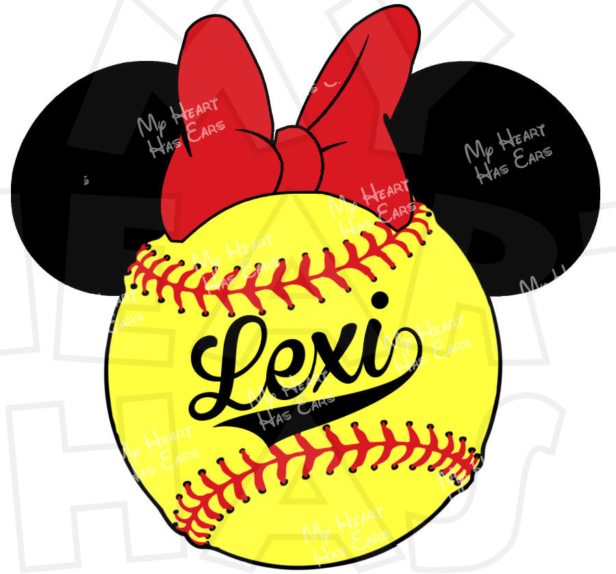 900x838 Minnie Mouse Softball Personalized Digital Clip Art Image For Iron