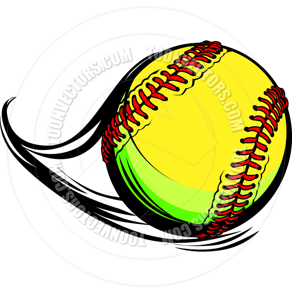 940x940 Moving Fastpitch Softball With Laces And Movement Lines Vector