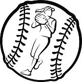 170x169 Clip Art Of Softball Player Throwing With Ball K19641629