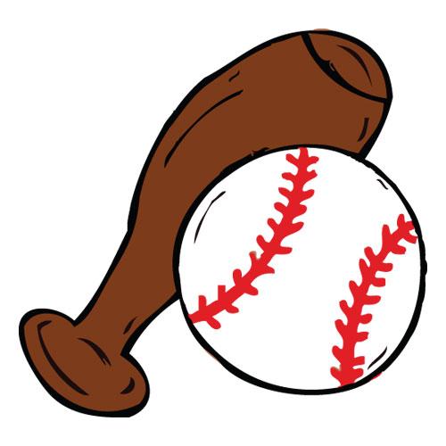 500x500 Cartoon Vector Softball Or Baseball Ball And Bat 09883 Download