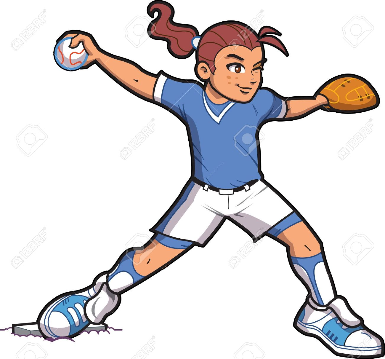1300x1211 Girl Softball Baseball Pitcher With Ponytail And Proper Form