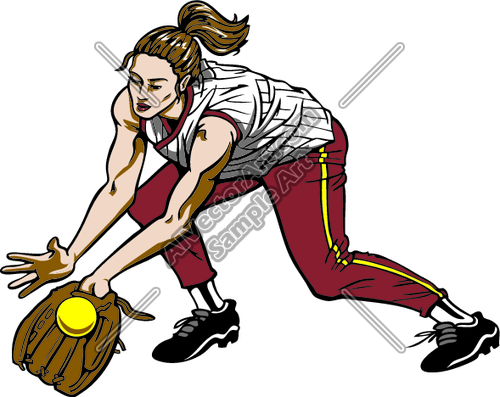 500x397 Female Softball Catching Ball Clipart And Vectorart Sports