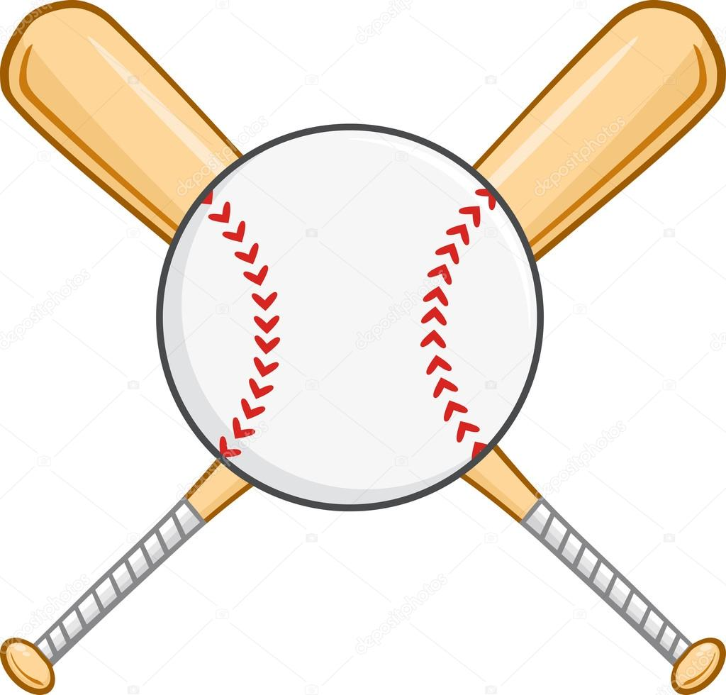 1024x980 Crossed Baseball Bats And Ball. Stock Vector Hittoon